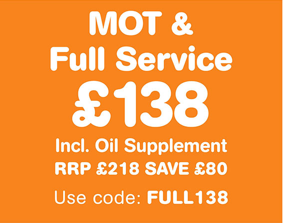 MOT and Full Service £138 RRP £218