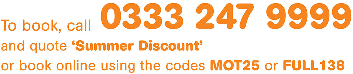 Call 0333 247 9999 and quote 'Summer Discount'
